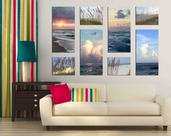 Large set of eight ocean beach cloud sky photographs 8 canvas print 10x20 inch 8x10 grouping multiple piece panel artwork nature home decor