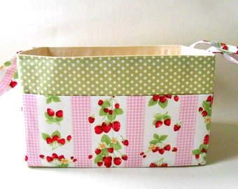 Plaid and Strawberries Fabric Storage Basket