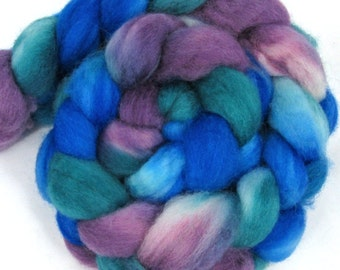 Hand Dyed Roving Superwash BFL Roving, 4oz --- Teal, Plum, Blue -- Spinning Fiber (combed top)