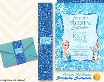 FROZEN Elsa and Olaf  Printable Birthday INVITATION + belly band in BLUE
