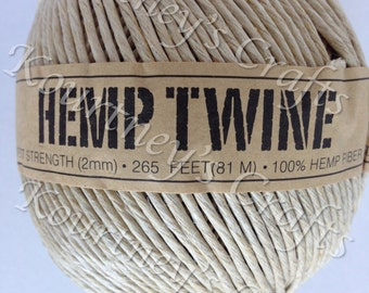 2mm Natural Beige Ball of Hemp Twine Cord Size 2mm Length 88yds/265ft