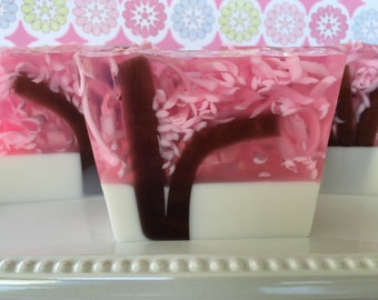 Japanese Cherry Blossom - glycerin soap - handcrafted soap, pink and white