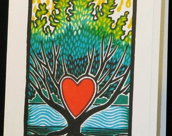 Hand pulled, woodblock printed greeting card; 'Treeheart'.