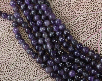 10mm Amethyst Large Hole Round Beads