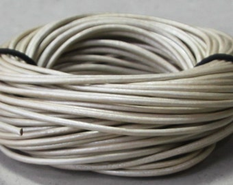 1.5mm Pearl white  color metallic finish leather cord- 10 meters / 32.5 feet