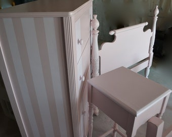 Sold Bedroom set Twin bed ,Dresser /chest and nightstand . shades of pink striped dresser