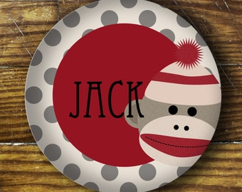 Personalized Melamine Plate-sock monkey