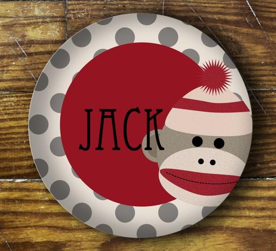Personalized Melamine Plate-sock monkey