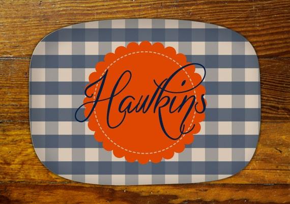 Personalized Serving Platter-plaid