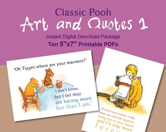 Classic Winnie the Pooh Art and Quotes Instant Digital Download Package 5x7 Set 1