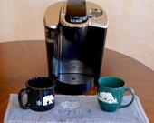 Coffee Rug, Coffeepot Rug, Coffeepot Mat, Coffee Mug Rug, Espresso, Placemat, Bar Towel, Coffee Bar Towel, Grey, Coffee Cup Coaster