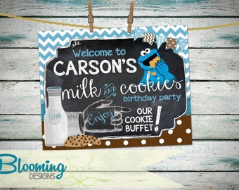 PRINTABLE Milk and Cookie MONSTER Welcome Sign....