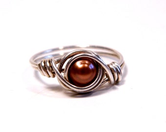 Size 4 1/2 Sterling & Pearl Wire Wrapped Ring