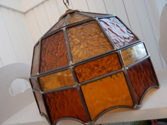 Stained Glass Hanging Swag Light With Brass Chain 1970 S