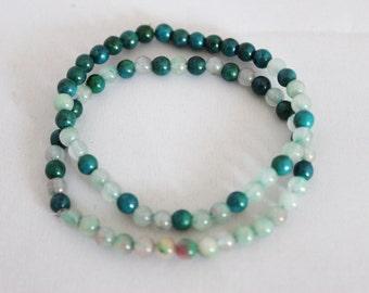 A set of 2 cascading color mini green jade stone beads bracelet, jade stone bracelet, jade bracelet, stone bracelet, friendship bracelet