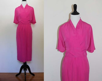 Vintage 1980s Caron Pink Wrap Dress