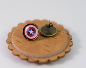Captain America Earrings - Superhero Earrings Captain America logo