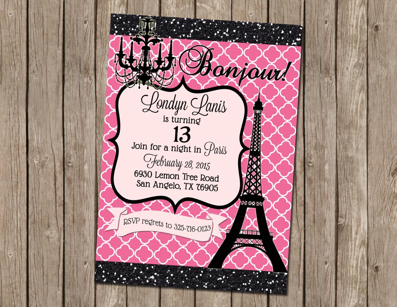Teen paris themed party invitation pink by missblissinvitations - Salon des seniors paris invitation ...