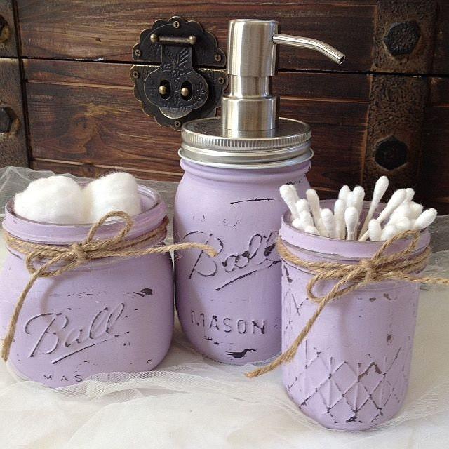 Bathroom Accessories Purple Lavender Lilac : Hand painted lilac lavender mason jar bathroom set
