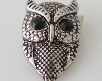 KB8039 3D Antiqued Silver Owl with Black Crystal Eyes