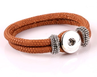 1 PC Cinnamon Genuine Leather Double Strap Bracelet for Snap It Chunk Charms