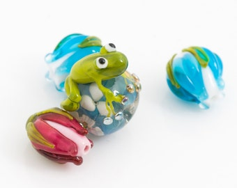 MTO 1 (one) Frog bead /marble lampwork bead / craft supplies/ beading/ handmade lampwork bead/ silvered glass encased beads / flower murrini