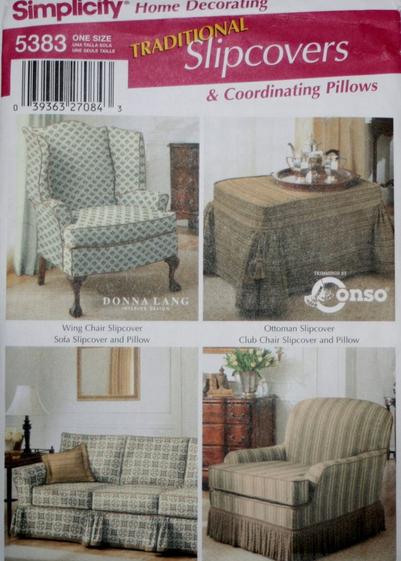 Simplicit 5383 fauteuil et canap housse coudre des motifs for Coudre housse fauteuil