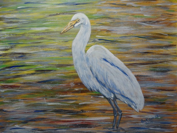 White egret wading original painting for White heron paint