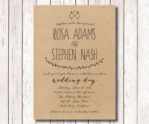 Diy Kraft Paper Wedding Invitations: Rustic Wedding Invitation Kraft Paper By SimplyFetchingPaper