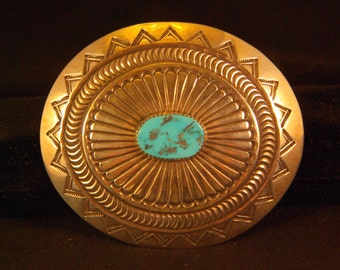 Distinctive Native American Silver and Turquoise belt buckle