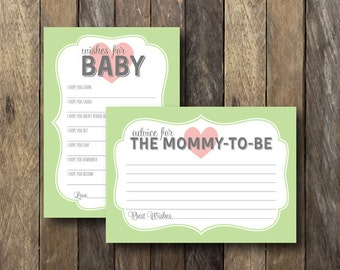 Printable Baby Shower Games - Baby Wishes Mommy Advice - Instant Download Baby Shower - Wishes for Baby Card - Advice for Mommy to Be Card