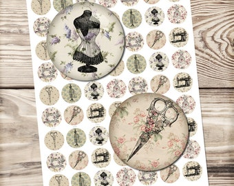 Sewing digital collage sheet, circle collages, scrissor bottle cap, vintage collage sheet, glass dome jewelry