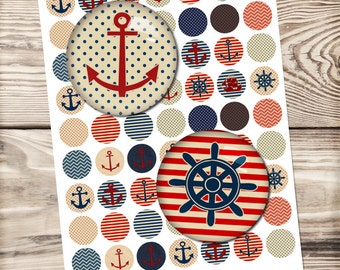 Anchor digital collage sheet, anchor, navy, nautical, summer, sea, dotted, bottle cap, jewelry making, printable download, sailor collage,