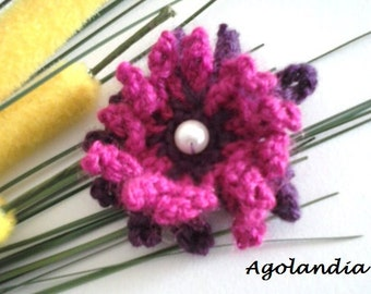 Wool Crochet Flower Brooch Handmade