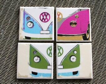 VW Campervan Coasters / Lovebug Camper coaster set of 4