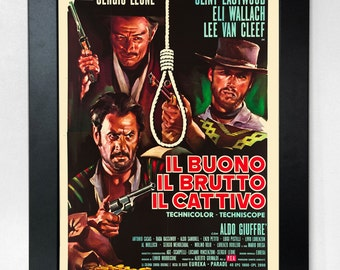 The Good the Bad and the Ugly A3 Rare Reproduction Italian Movie Poster Unframed
