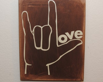 Custom canvas quote wall art sign - I love you sign language