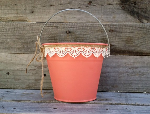 Rustic flower girl basket coral pail with cream lace rustic for How to decorate a bucket