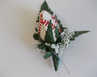 "Baseball ""Rose"" Boutonniere"