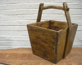 Vintage wooden bucket. Hand crafted, Solid wood. Primitive, Farm house. Original.