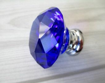Blue glass knob | Etsy