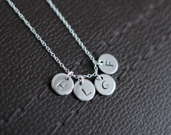 Mother's Necklace - Tiny Stamped Multiple Initials Personalized, Mother Christmas Present, Mom Holiday Gift,Hanukkah gift,Children Necklace