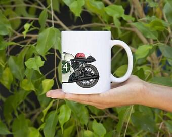 KillerBeeMoto:  U.S. Made Limited Release 1960 250 Twin Race Bike Coffee Mug (White)