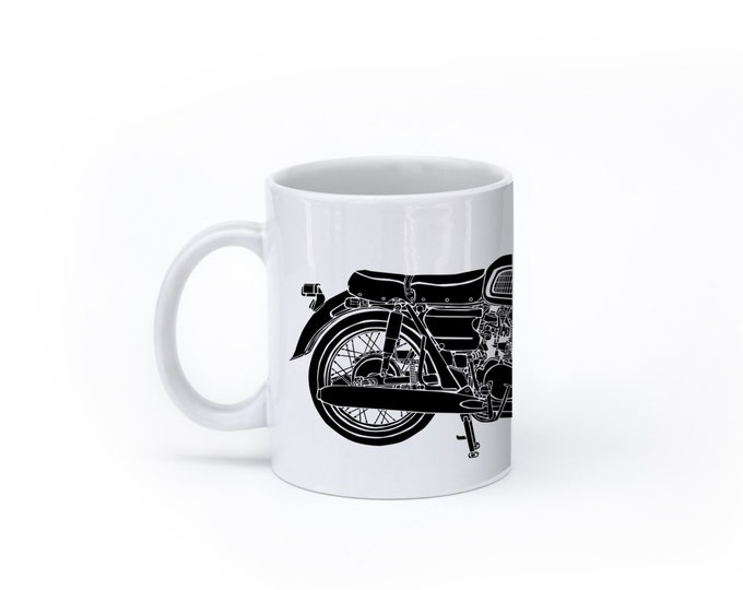 KillerBeeMoto:  U.S. Made Limited Release Custom 450cc Japanese Engineered Custom Cafe Racer Motorcycle On  A White Coffee Mug