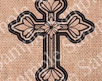 Cross INSTANT DOWNLOAD Religious Cross Elegant Digital Transfer To Pillows Tote Bags Tea Towels Burlap Digital Clipart Clip Art