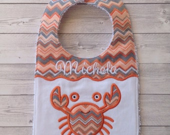 Crab baby bib personalized with name