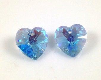 6pcs 6228 AQUAMARINE AB 10.3x10mm Swarovski Crystal Heart Love Valentine's Wedding