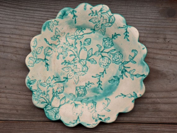 Decorative plate Turquoise ceramic plate lace plate by ...