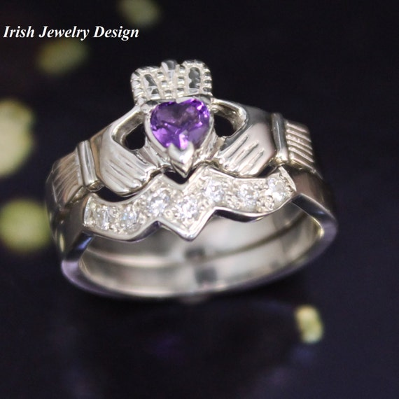 Real Amethyst Irish Claddagh Ring And Matching Band Set With