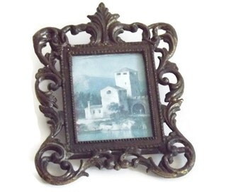 HD 70  Italian Picture Frame, Miniture Ornate Picture Frame, Italian Water Scene, Ornate VInatge Metal Picture Frame Art